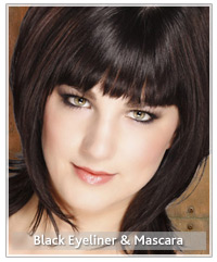 Model with black hair and black eyeliner