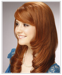 Model with long wavy red hair