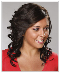 Model with mid-length curly dark  hair