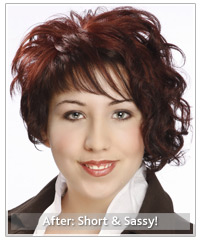 Model with short curly red hairstyle