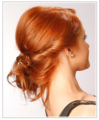 Model with a side swept bun