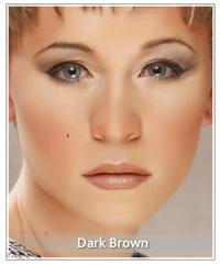 Model with dark brown lipstick