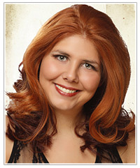 Model with long copper hair