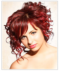 Model with bright red hair