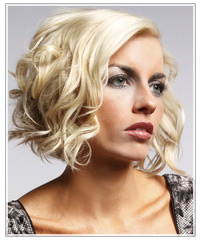 Model with platinum blonde curly hair