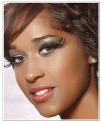 Brunette model with fake eyelashes
