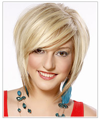 Model with blonde bob and side-swept bangs