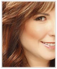 Model peach blush and brunette hair