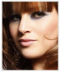 Model pink blush and brunette hair