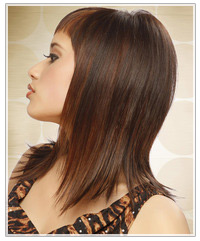 Model with glossy brown hair