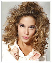 Model with long curly hair