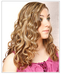 Model with curly blonde hair