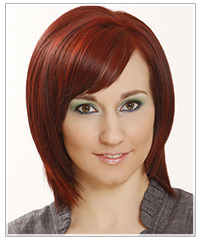 Model with red bob