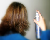 Apply hairspray