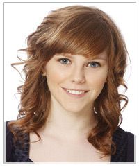 Model with swept bangs