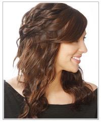 Brunette model with half up hair