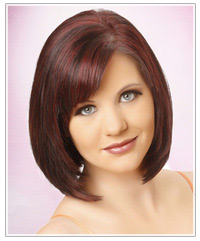 Model with shiny red hair
