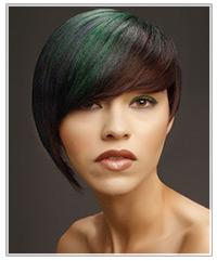 Model with green fringe