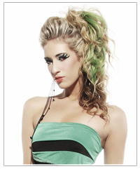 Model with curly green highlighted hair