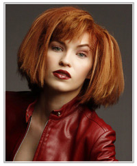 Model with crimped red hair