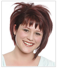 Model with piecey jagged bangs