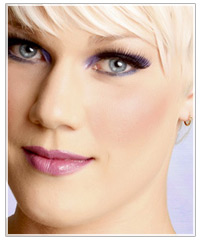 Model with earthy pink cheeks
