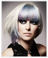 Purple and blue highlighted blonde bob