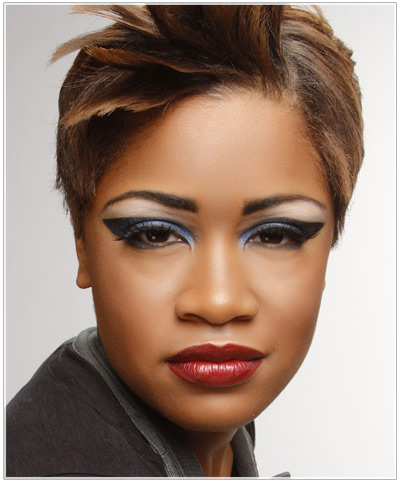 Model with obvious eye makeup