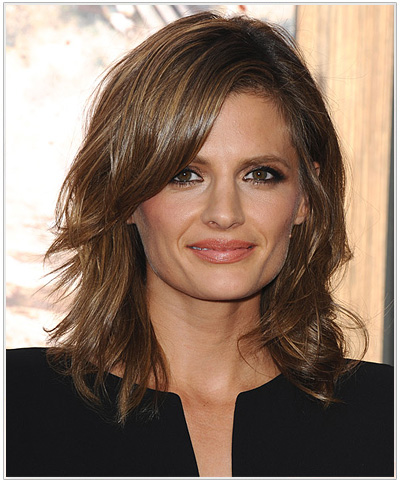 Stana Katic's Makeup for Golden Brown Hairstyles