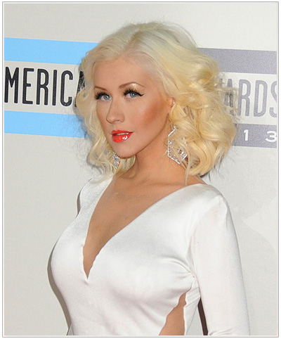 Christina Aguilera 226 S Two Tone Blonde Hairstyle