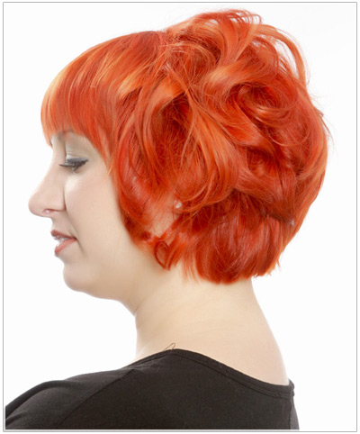 Model with a bold orange hair color