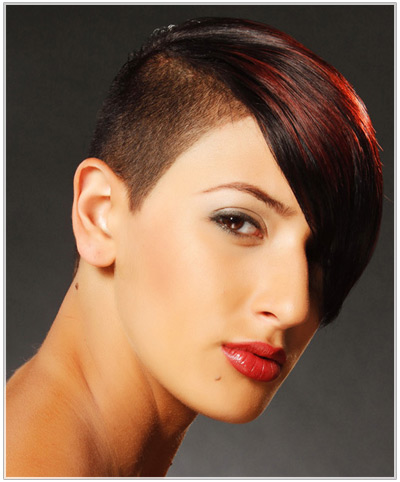 Model with a short undercut hairstyle