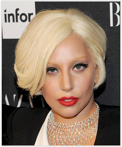 Lady Gaga Short Platinum Blonde Hairstyle