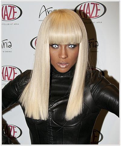 Ciara Long Platinum Blonde Hairstyle