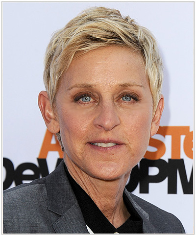 Ellen DeGeneres Short Platinum Blonde Hairstyle