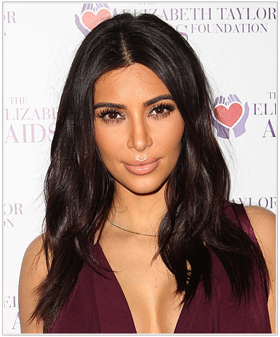 Kim Kardashian Long Straight Brunette Hairstyle