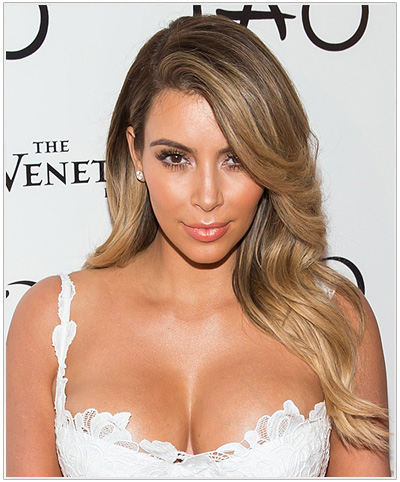 Kim Kardashian Long Straight Blonde Hairstyle