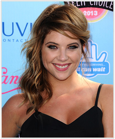 Ashley Benson Half Up Long Curly Brunette Hairstyle