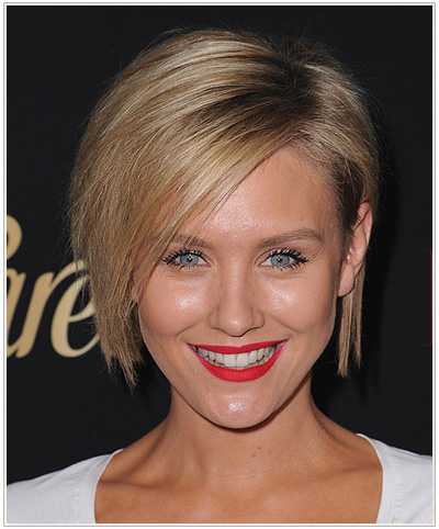 Nicky Whelan Medium Straight Blonde Bob Hairstyle
