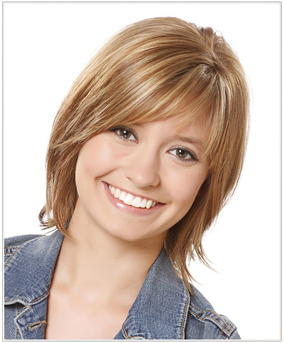 Medium Straight Casual Hairstyle - Light Brunette.