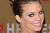Annalynne mccord hair and makeup for an evening look side