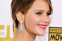 Jennifer lawrence red carpet hair and makeup side